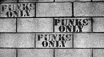 Punks Only Brick Wall Sign Art Print by Jera Sky