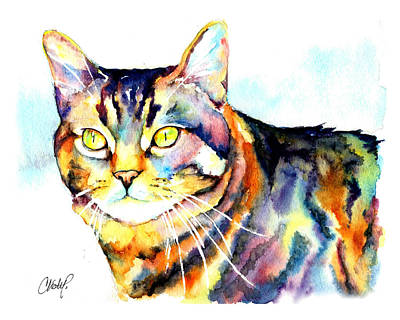 Cats Painting - Punky Kitty  by Christy  Freeman