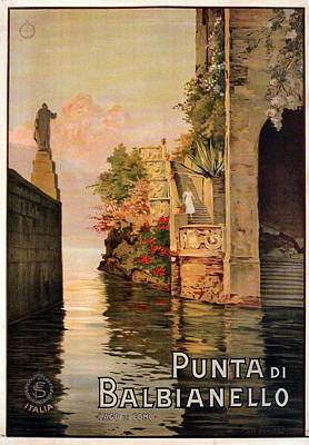 Royalty-Free and Rights-Managed Images - Punta Di Balbianello - Lago Di Como, Italy - Retro travel Poster - Vintage Poster by Studio Grafiikka