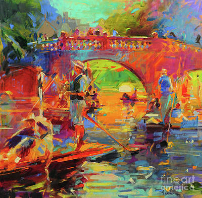Painting - Punts, Clare Bridge by Peter Graham