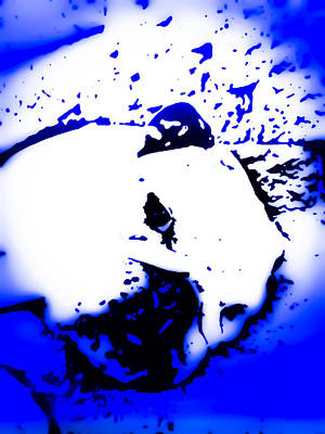 Abstract Photograph - Pup Art Bulldog Maggie In Blue by Heather Joyce Morrill