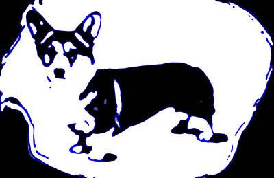 Dog Photograph - Pup Art Corgi In Blue by Heather Joyce Morrill