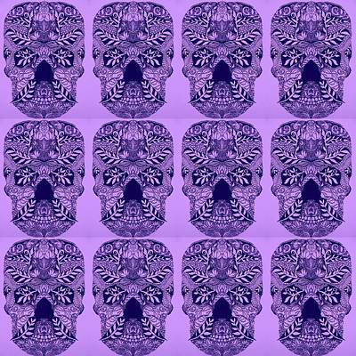 Pretty Quilts Painting - Puple Skulls by Cathy Jacobs