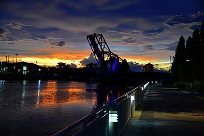 Photograph - Puple Sky Over The Bridge by David Lee Thompson