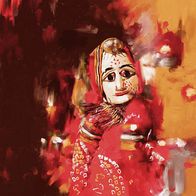 Indian Folk Art Painting - Puppet 435 1 by Mawra Tahreen