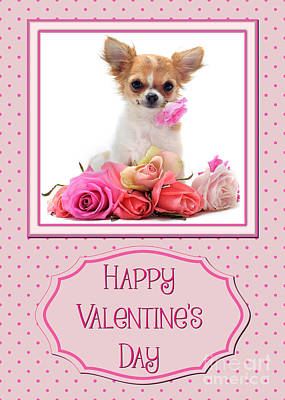 Digital Art - Puppy And Roses Valentine by JH Designs