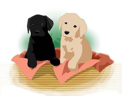 Digital Art - Puppy Basket by Alice Chen