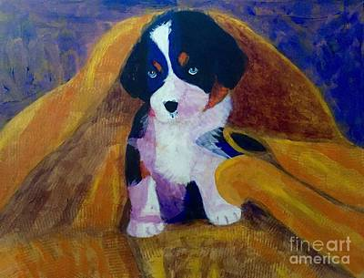 Art Print featuring the painting Puppy Bath by Donald J Ryker III