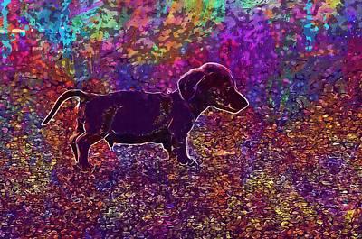 Tiny Dog Digital Art - Puppy Dog Sausage Brown Tiny  by PixBreak Art