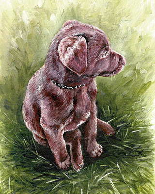 Sit-ins Painting - Puppy In Sunset by True Image