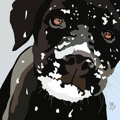 Black Lab Digital Art - Puppy In The Snow by Ian Mutton