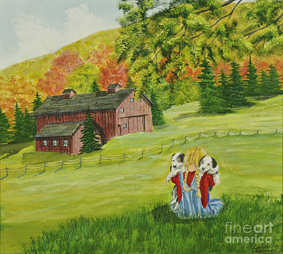 Barn Poster Painting - Puppy Love by Charlotte Blanchard