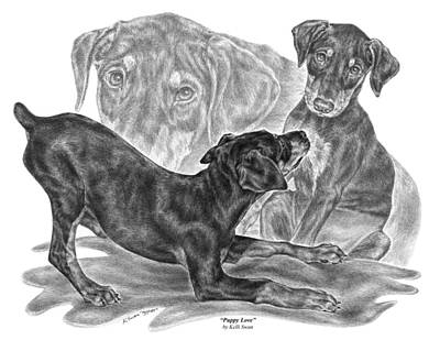 Pinscher Drawing - Puppy Love - Doberman Pinscher Pup by Kelli Swan