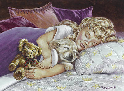 Golden Retriever Painting - Puppy Love by Richard De Wolfe