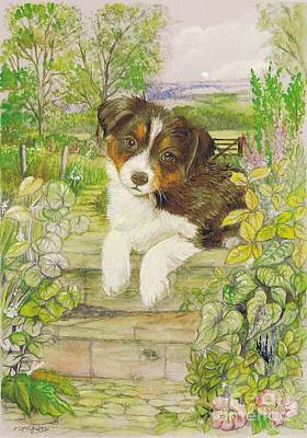 Puppy Mixed Media - Puppy On The Step by Morgan Fitzsimons