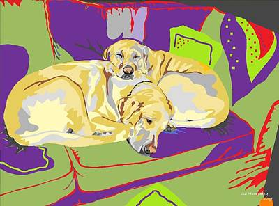 Puppy Pile Of Two Art Print by Su Humphrey
