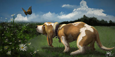 Digital Art - Puppy Play Time by Jonathan Carr