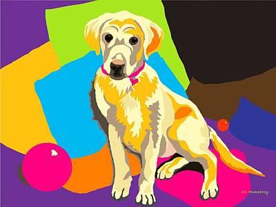 Puppy Princess And The Pillows Art Print by Su Humphrey