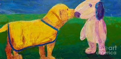 Art Print featuring the painting Puppy Say Hi by Donald J Ryker III