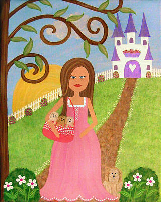 Girl Painting - Puppy Tales by Samantha Shirley
