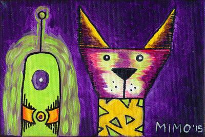 Puppy Vs Alien Art Print by Michael Mooney