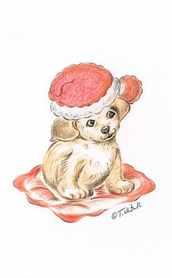 Drawing - Puppy's Christmas  by Teresa White