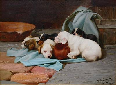 William Henry Hamilton Trood Painting - Pups Slumber by MotionAge Designs