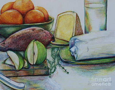 Snack Drawing - Purchases From The Farmers Market by Anna Mize Bell