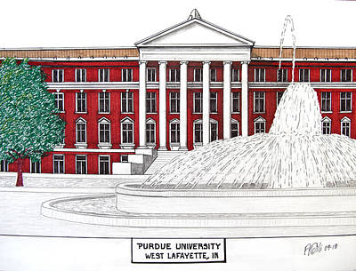 Drawing - Purdue by Frederic Kohli