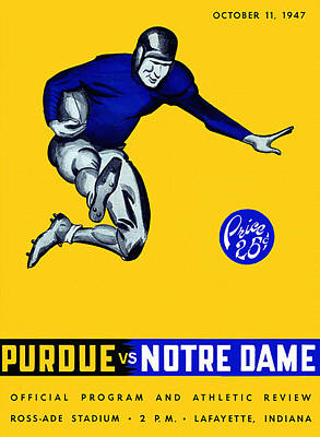 Ncaa Painting - Purdue V Notre Dame 1947 Program by Big 88 Artworks