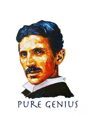Painting - Pure Genius - Tesla by Konni Jensen