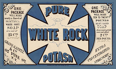 Photograph - Pure White Rock Potash Vintage Product Label by Edward Fielding