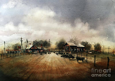 Purebred Herd In The Home Pasture Art Print by Tim Oliver
