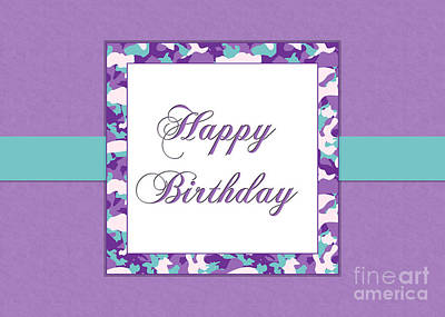 Digital Art - Purp Teal Camo Birthday by JH Designs