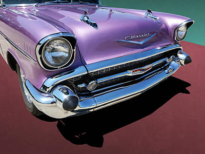 Photograph - Purple 1950s Chevrolet Wagon Front End by Debi Dalio