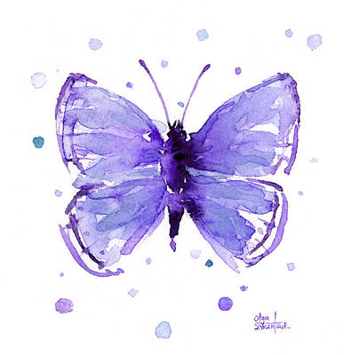 Painting - Purple Abstract Butterfly by Olga Shvartsur