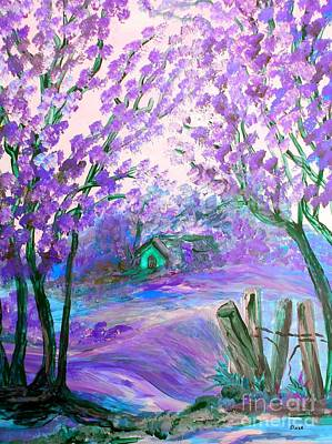 Painting - Purple Abstract Landscape With Trees by Eloise Schneider