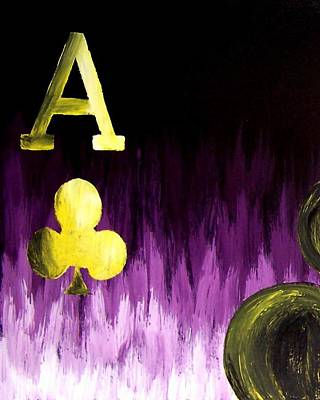 Poker Painting - Purple Aces Poker Art1of4 by Teo Alfonso
