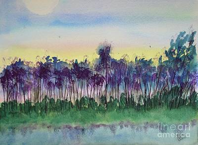 Farmanimals Painting - Purple Afternoon Reflections by Barrie Stark