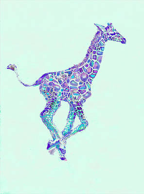Purple And Aqua Running Baby Giraffe Art Print by Jane Schnetlage