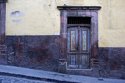Architectural Detail Photograph - Purple And Blue Door Mexico by Carol Leigh