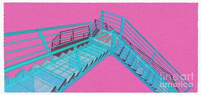 Santa Monica Mixed Media - Purple And Cyan Stair 33 Architecture For Architects by Pablo Franchi