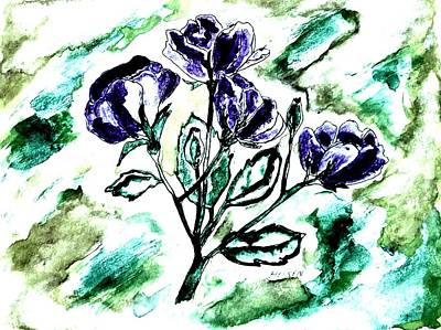 Wrap Digital Art - Purple And Green Abstract Roses by Marsha Heiken