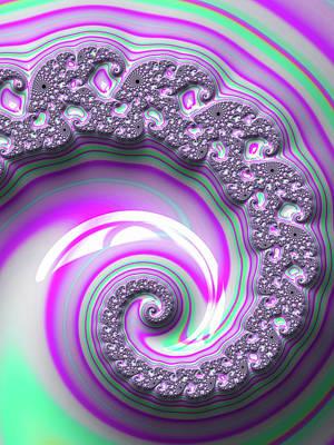 Digital Art - Purple And Green Fractal Spiral by Matthias Hauser