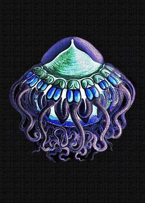 Purple And Green Jellyfish Art Print by Diane Addis