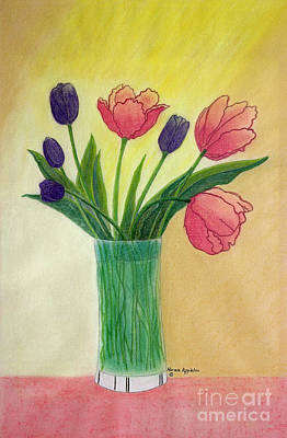 Purple And Pink Tulips Art Print