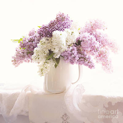 Print featuring the photograph Purple And White Lilacs Still Life by Sylvia Cook