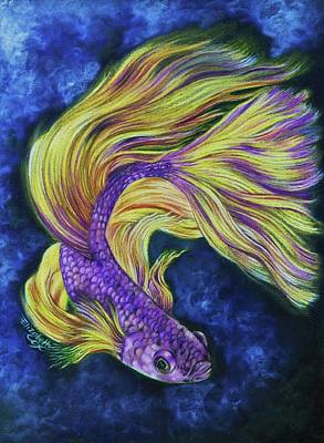 Purple And Yellow Betta Art Print