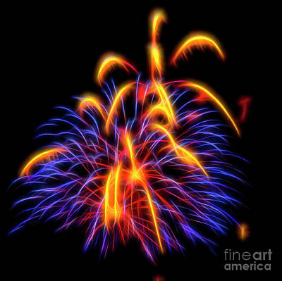 Photograph - Purple And Yellow Fireworks #7 by Yulia Kazansky