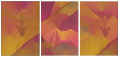 Digital Art - Purple Arrow Triptych by Julia Woodman